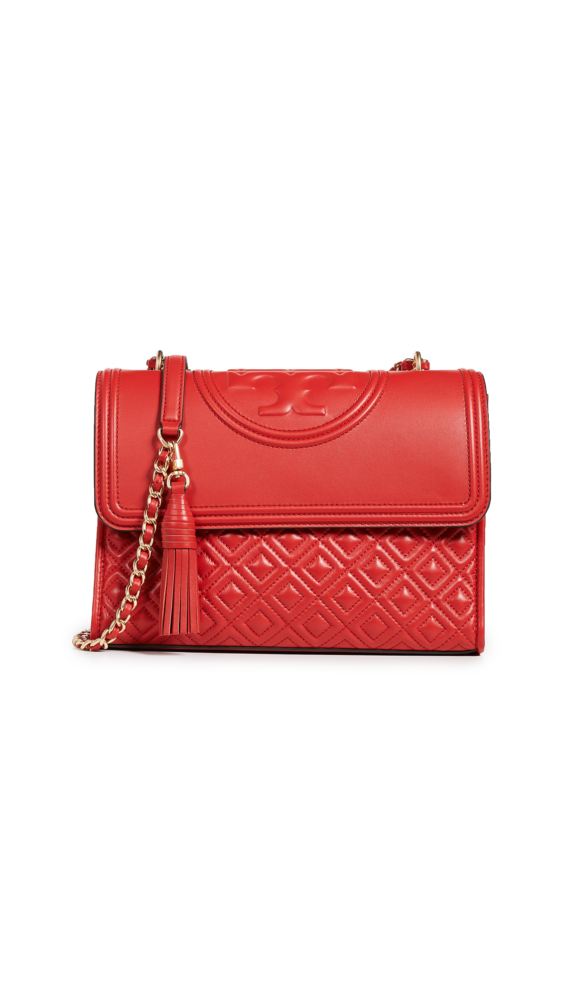 3bbfce7a389 Tory Burch Fleming Exotic Red Leather Small Convertible Shoulder ...