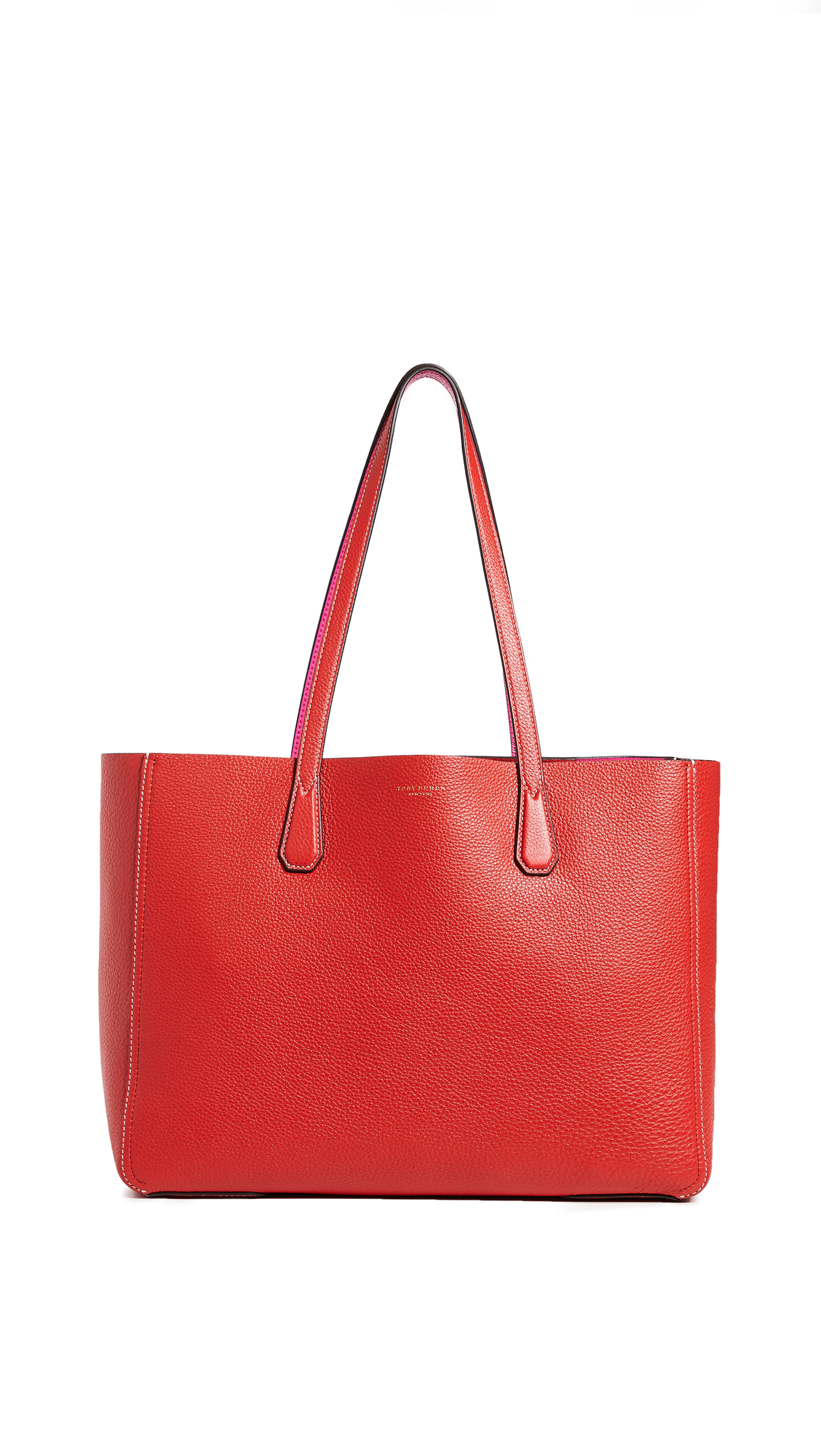 Phoebe Pebbled Leather Mini Tote Bag, Red/Pink
