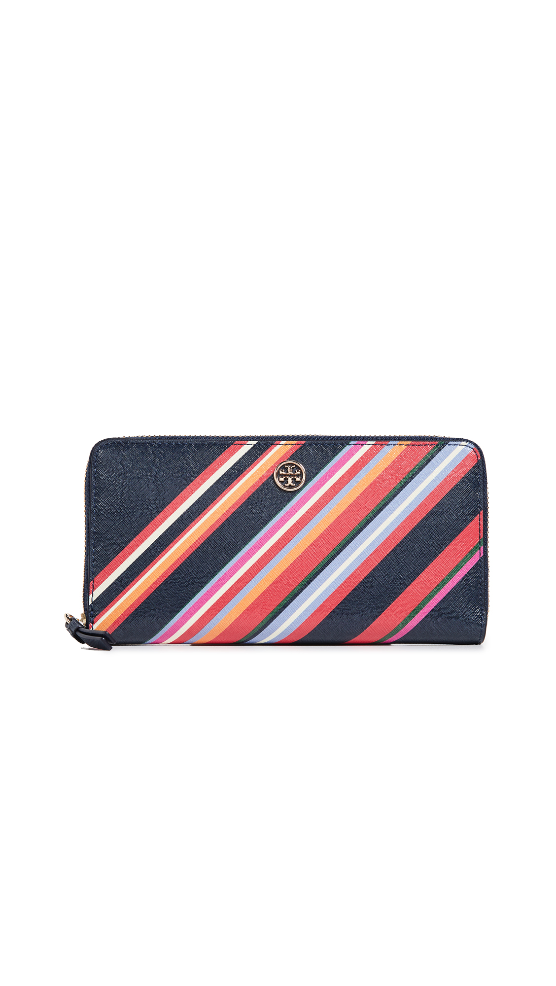 Robinson Striped Zip Leather Continental Wallet, Vivid Stripe