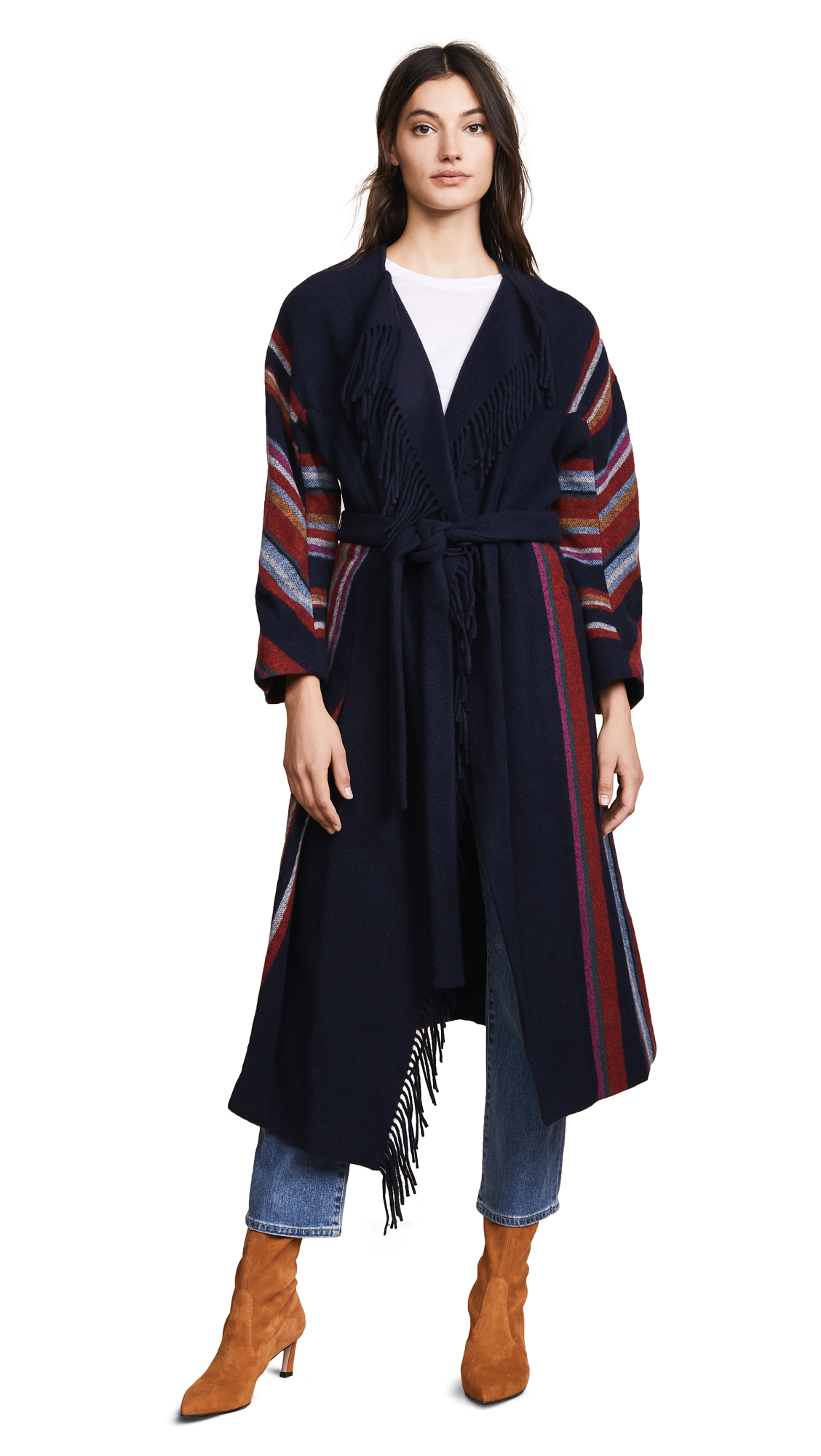 Tory Burch Alice Coat In Vivid Stripe