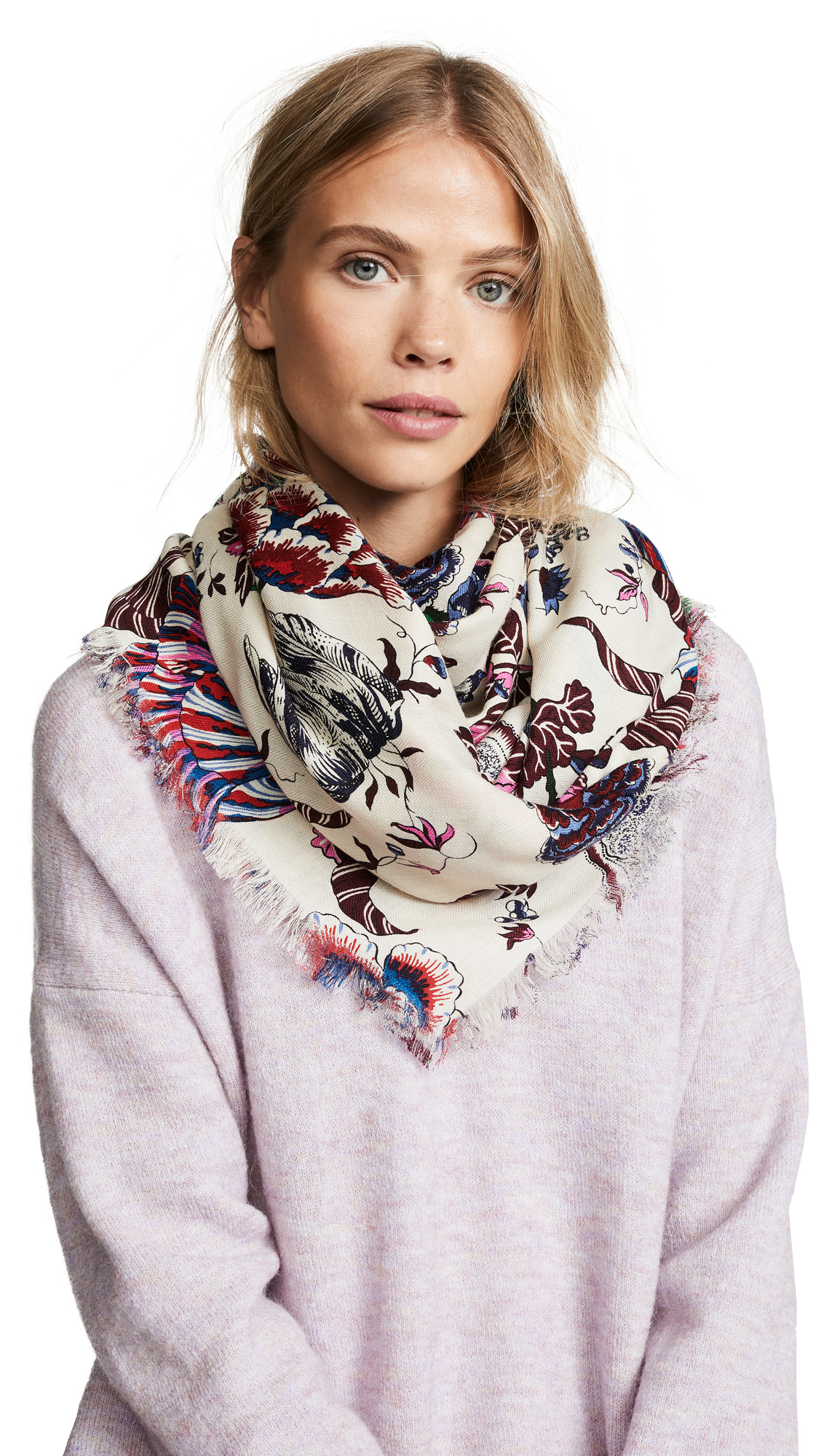 Tory Burch Happy Times Oversized Square Scarf In Happy Times