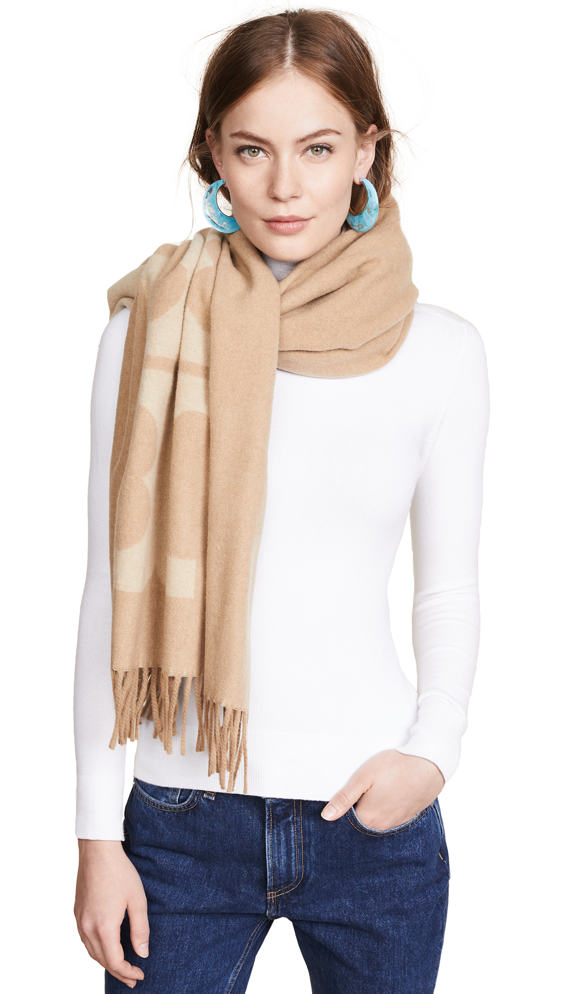 Solid Logo Oblong Scarf, Oatmeal