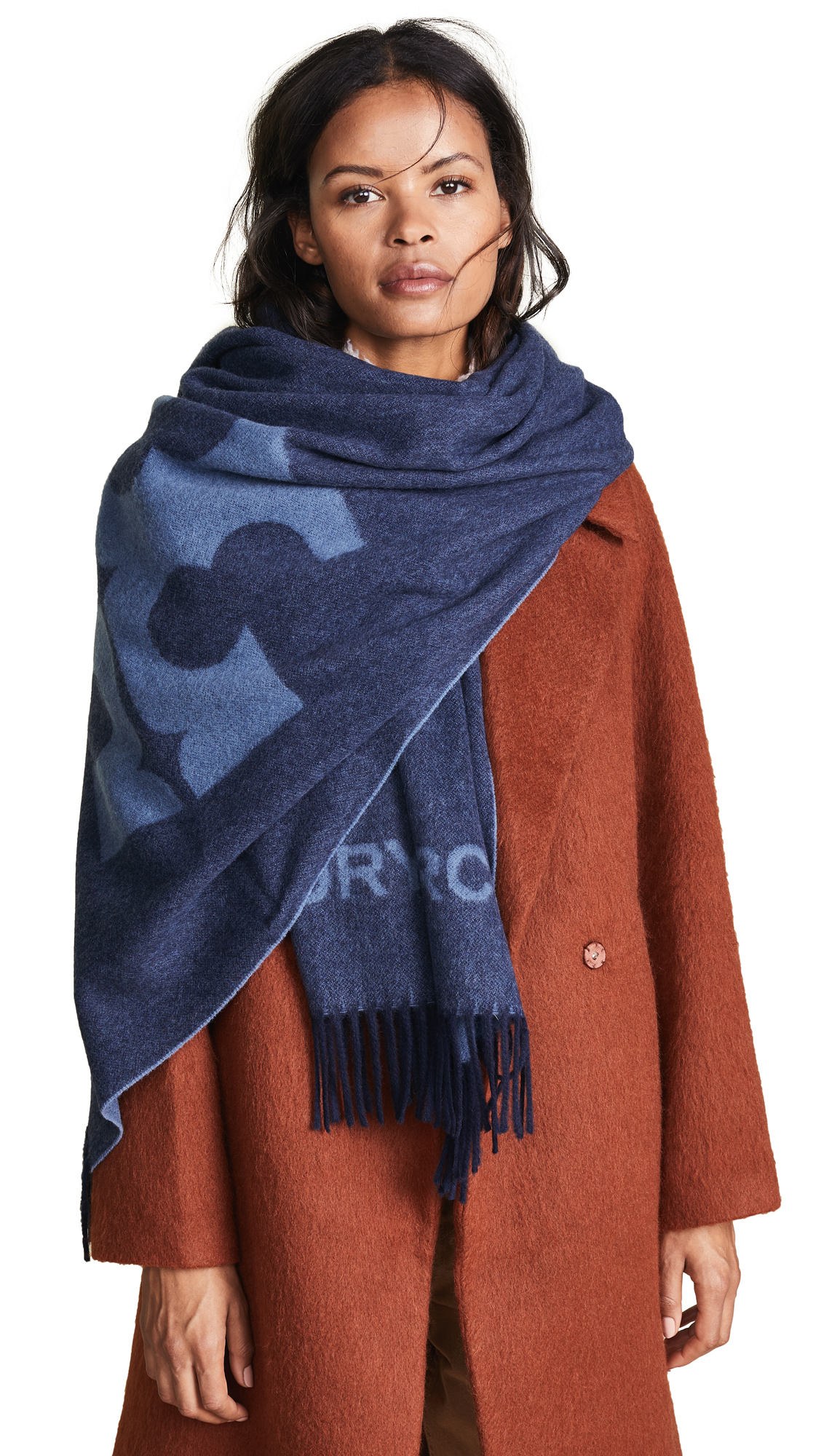 Solid Logo Oblong Scarf, Tory Navy