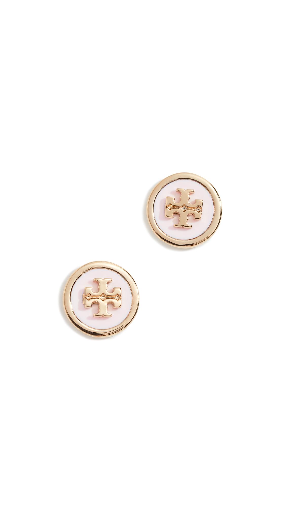 Enamel Raised Logo Stud Earrings in Pink/Gold