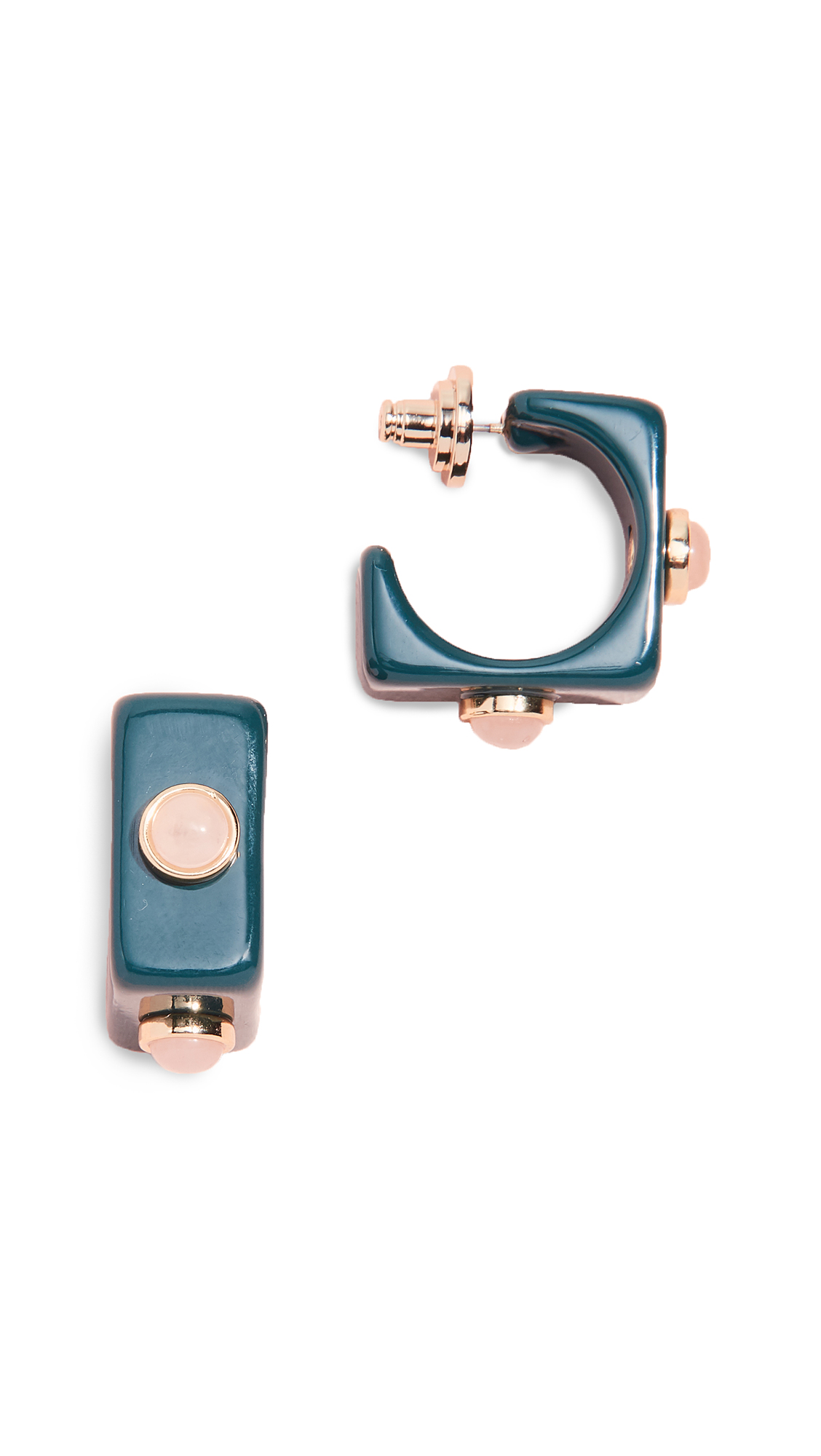 TORY BURCH STUDDED STONE SQUARE HOOP EARRINGS