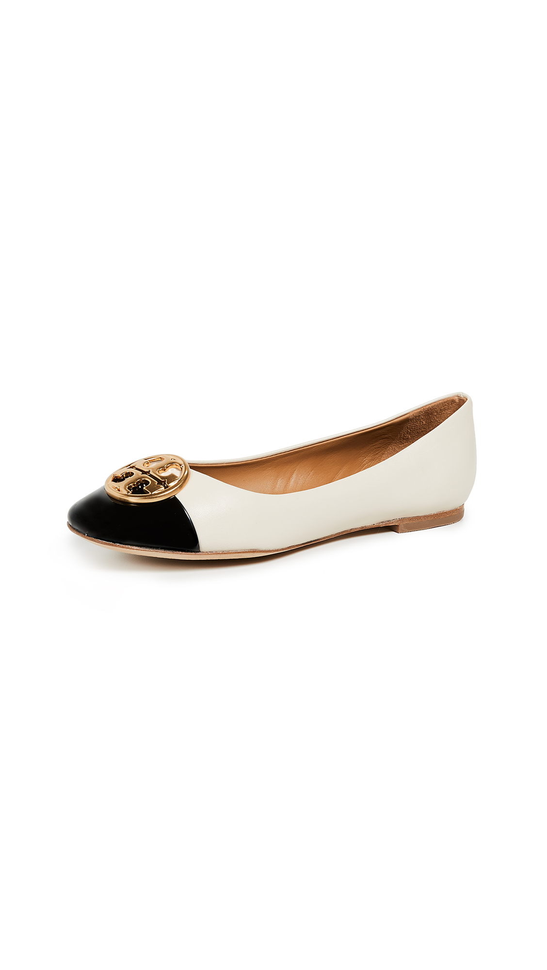 Tory Burch Chelsea Cap Toe Ballet Flats - New Cream/Perfect Black