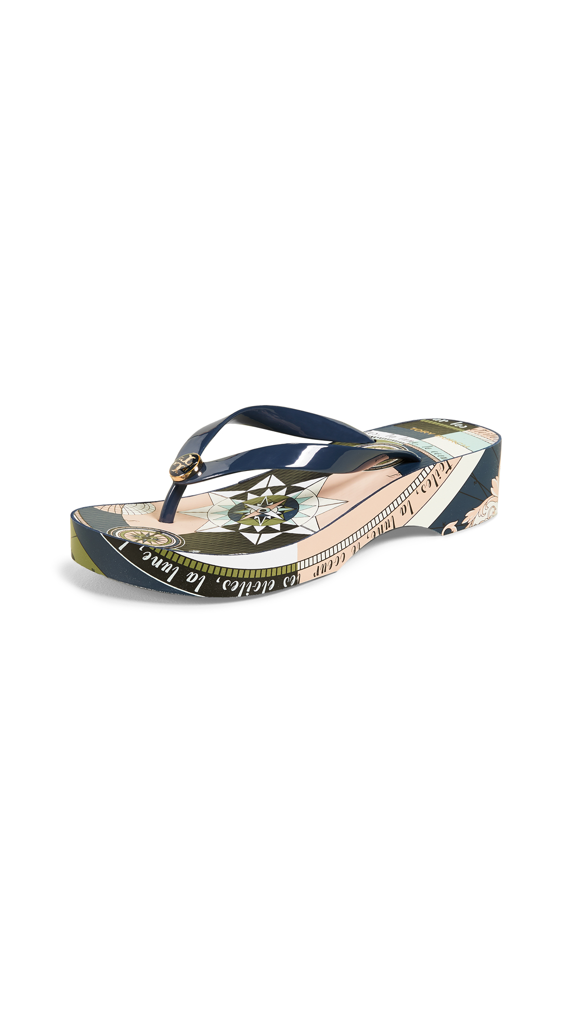Tory Burch Cutout Wedge Flip Flops - Tory Navy/Navy Constellation