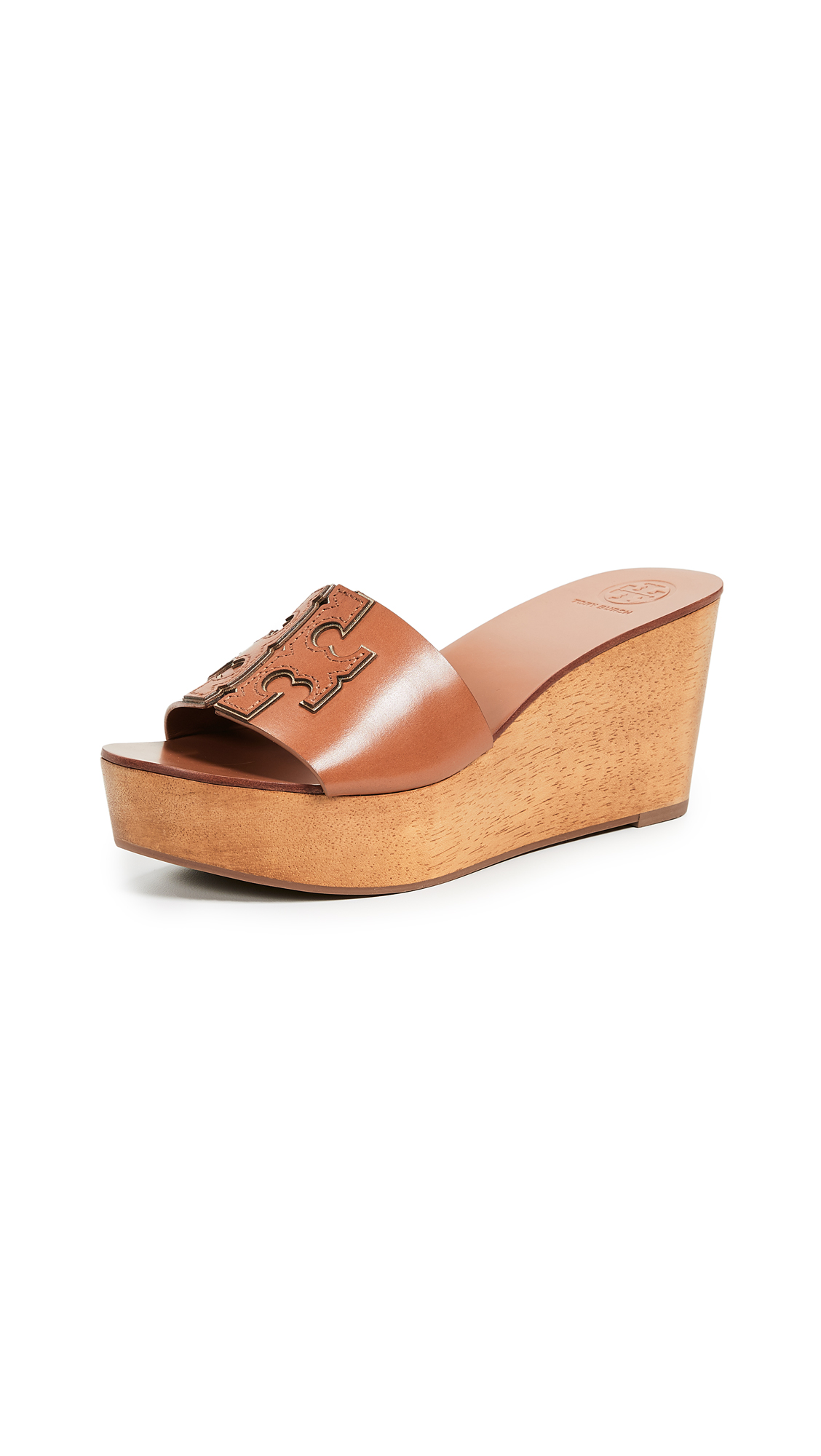 Tory Burch Ines 80mm Wedge Slides - Tan/Spark Gold