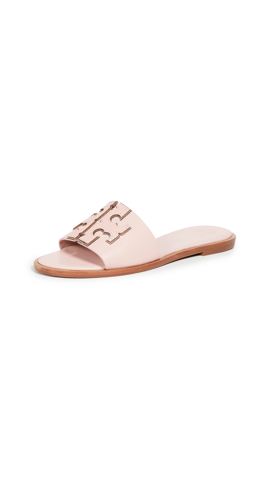 Tory Burch Ines Slide Sandals - Sea Shell Pink/Silver