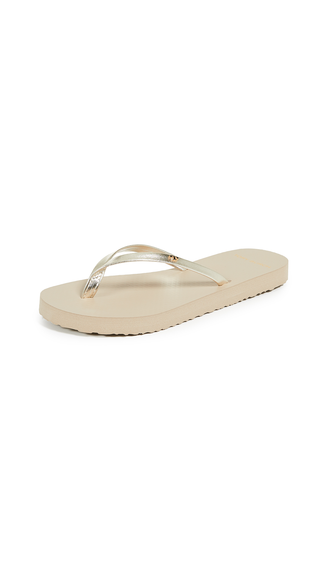 Tory Burch Metallic Leather Flip Flops - Spark Gold/Light Taupe