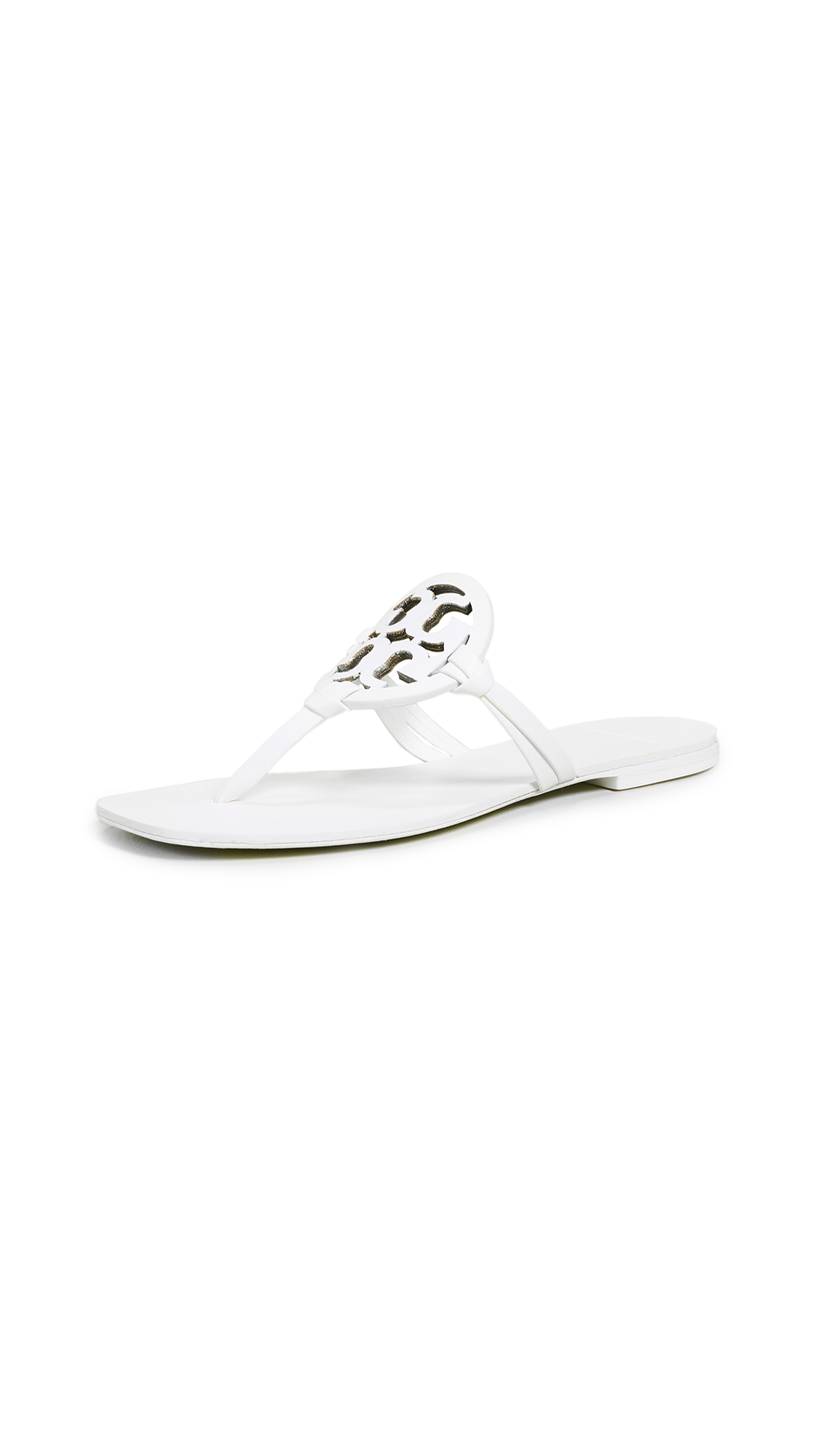 Tory Burch Square Toe Miller Flip Flops - White