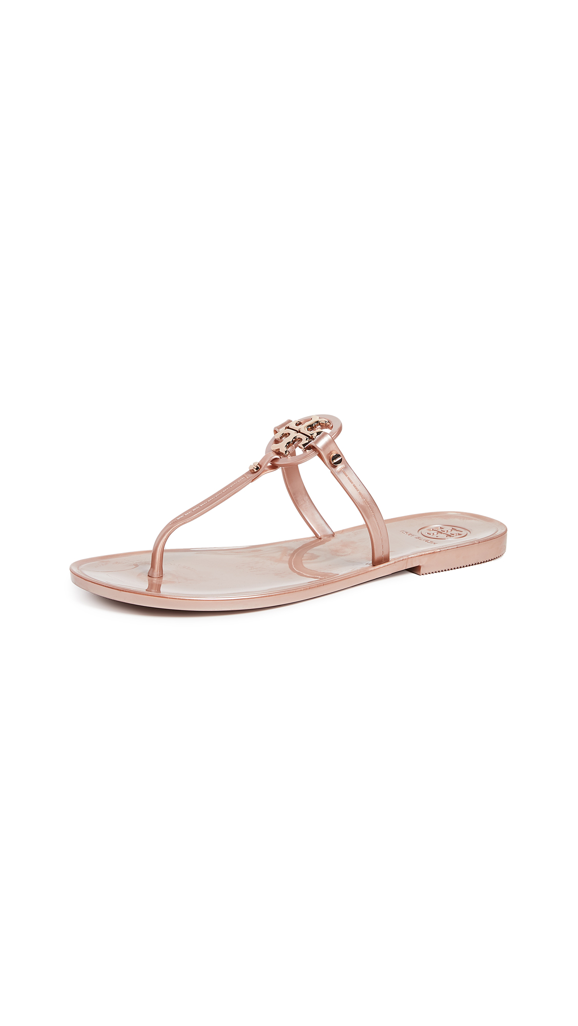 Tory Burch Mini Miller Flat Thong Sandals - Rose Gold