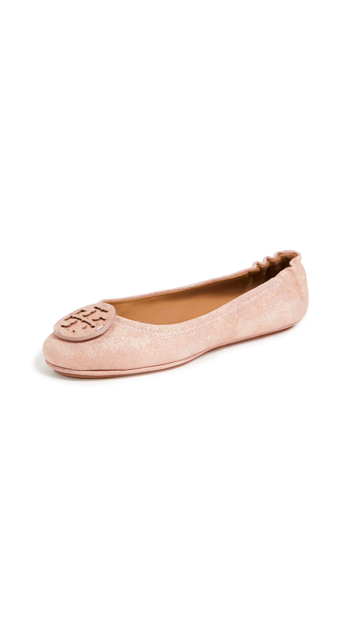 Tory Burch Minnie Travel Logo Ballet Flats - Metallic Sea Shell Pink