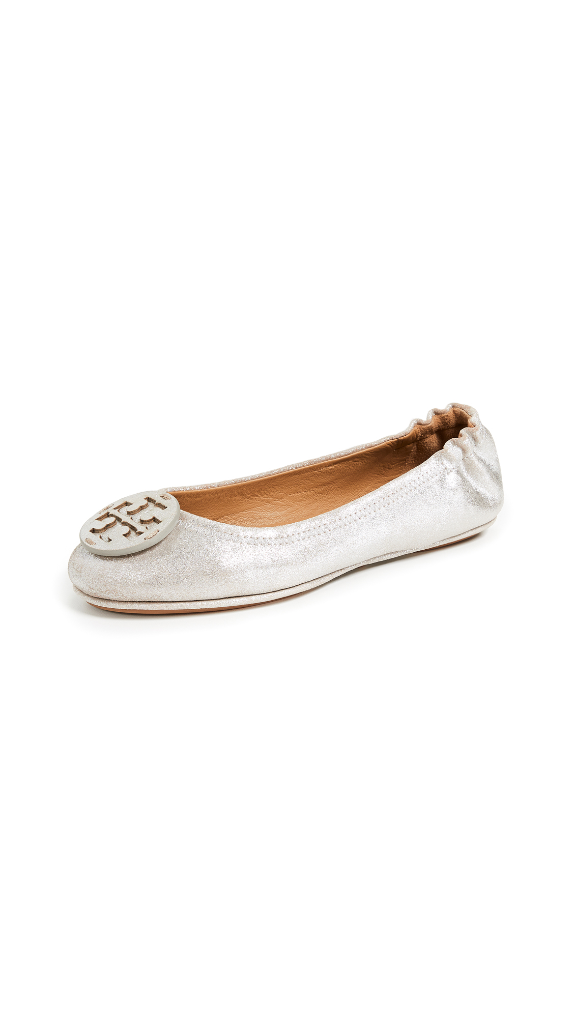 Tory Burch Minnie Travel Logo Ballet Flats - Metallic Perfect Sand