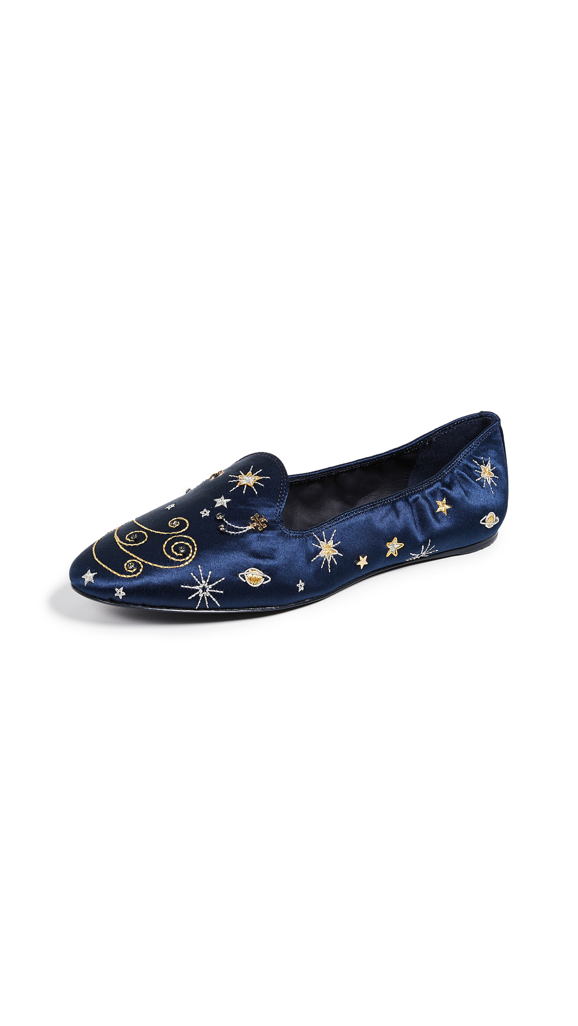 Tory Burch Olympia Embroidered Loafers - Perfect Navy
