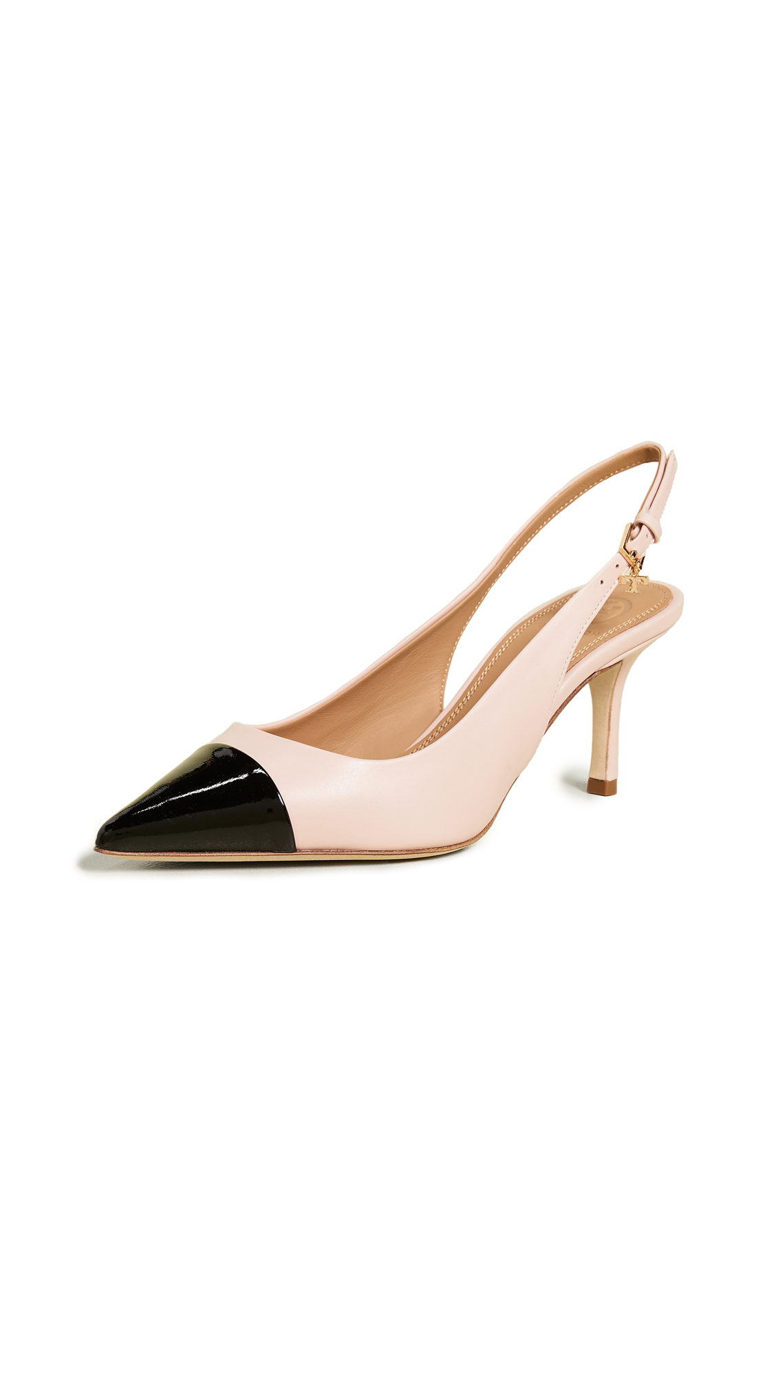 Tory Burch Penelope 65mm Cap Toe Slingback Pumps - Sea Shell Pink/Perfect Black