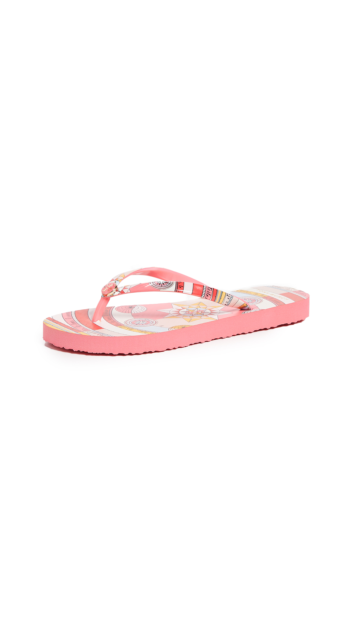 cda1f2475064 Tory Burch Printed Thin Flip Flops In Pink Constellation