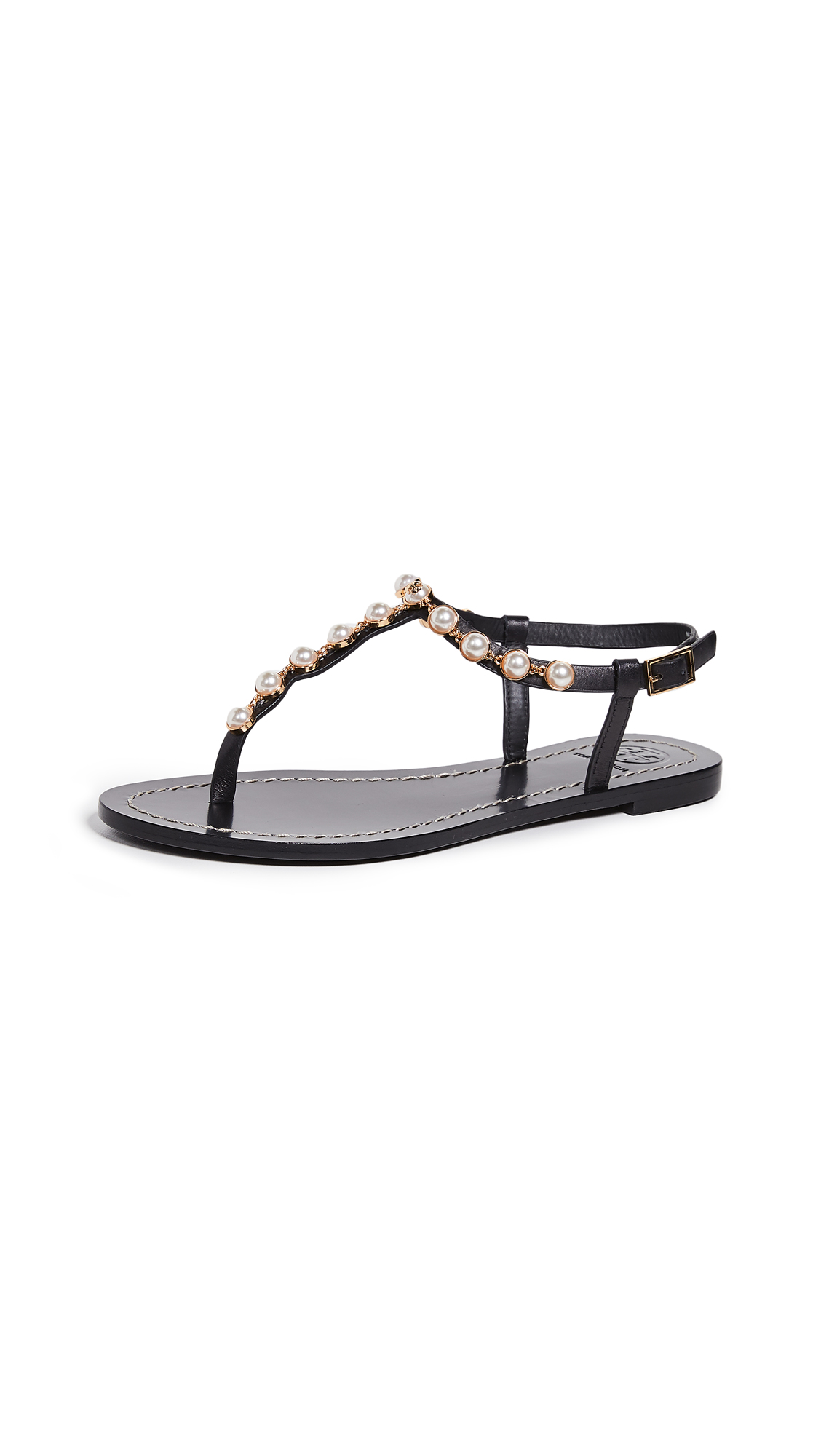 336a78410e5 Tory Burch Emmy Embellished T-Strap Sandal In Perfect Black