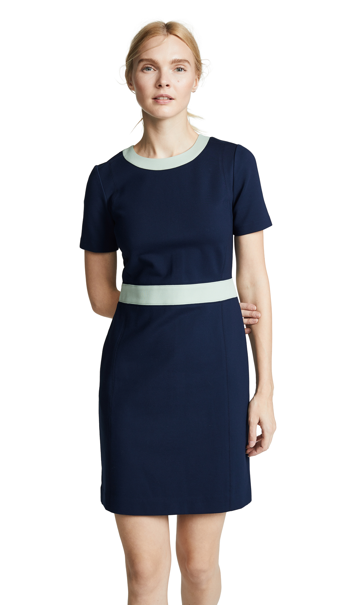 Tory Burch Ponte Colorblock Dress - Navy/Mint