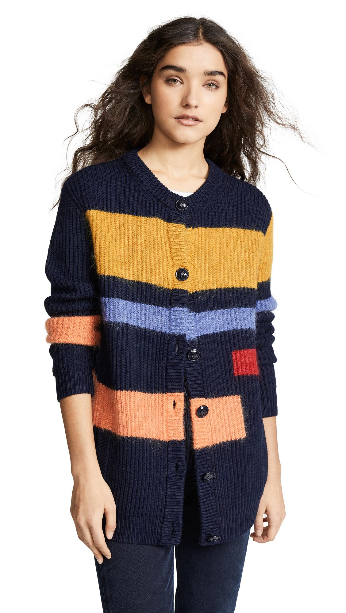 Tory Burch Wool Colorblock Cardigan - Tory Navy