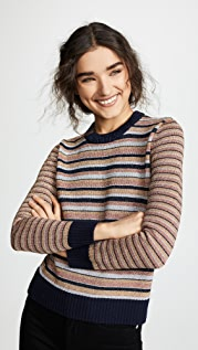 Tory Burch Metallic Stripe Sweater