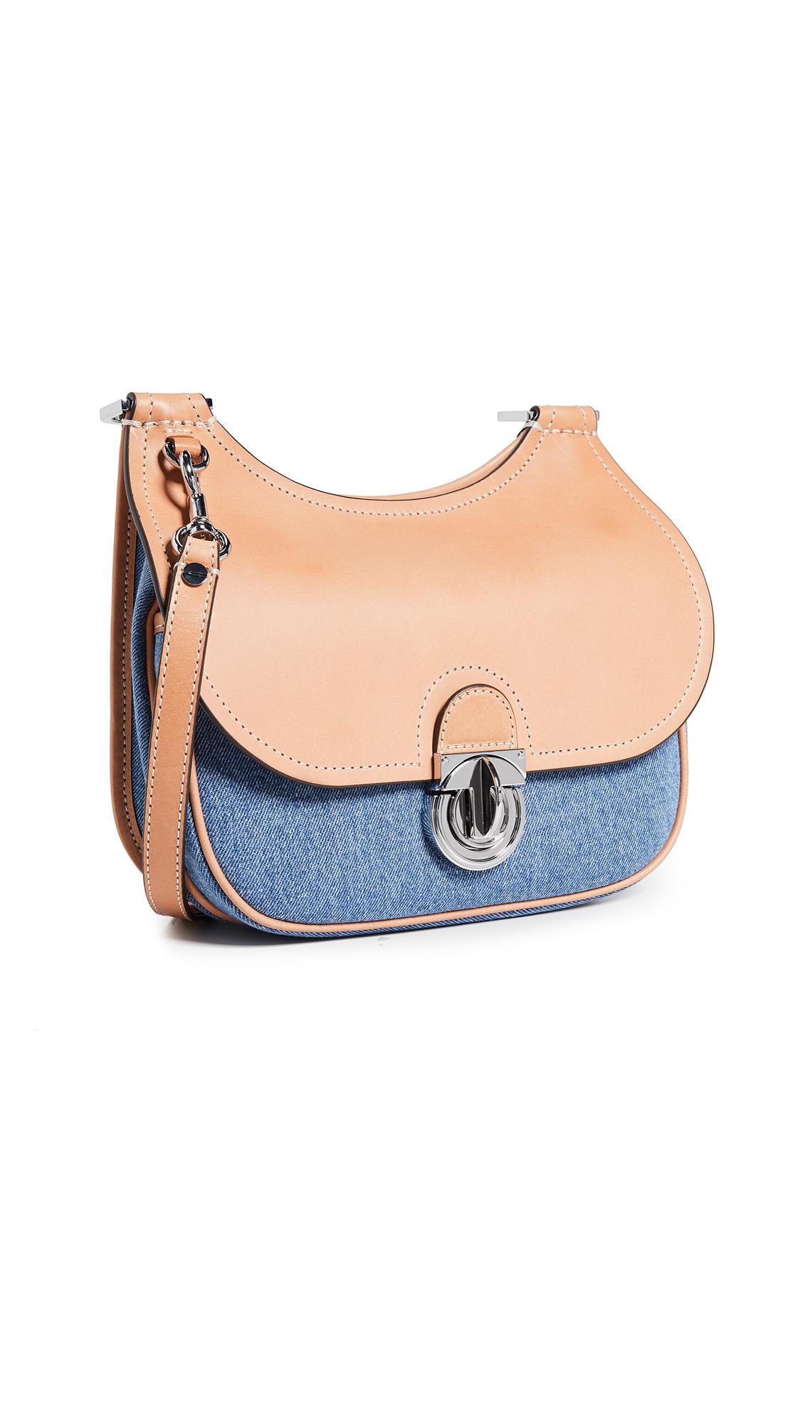 Small James Denim & Leather Saddle Bag - Blue in Evening Blue