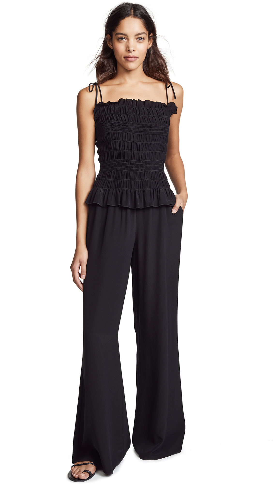 Tory Burch Smocked Jumpsuit - Black