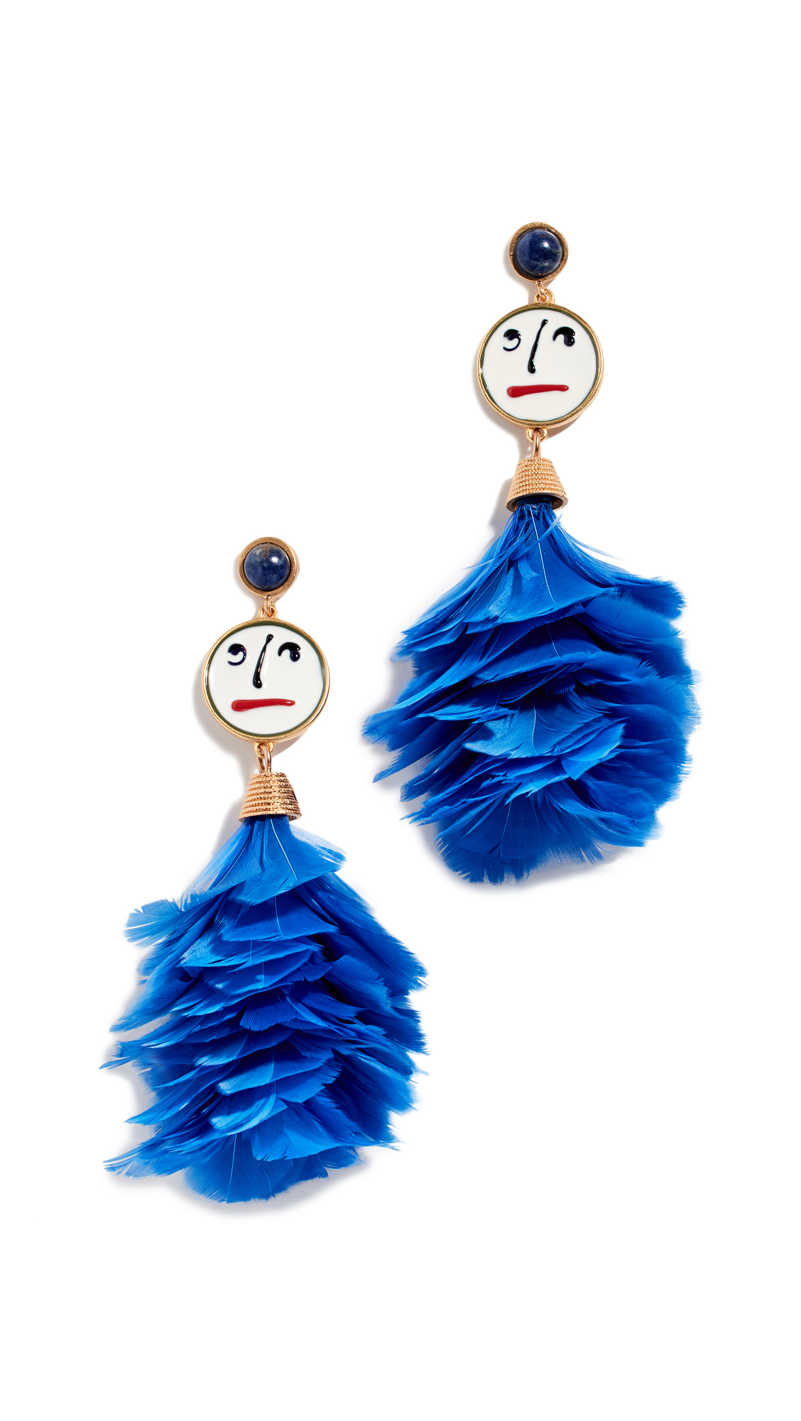 Tory Burch Conversational Feather Drop Earrings - Vintage Gold/Cobalt Blue