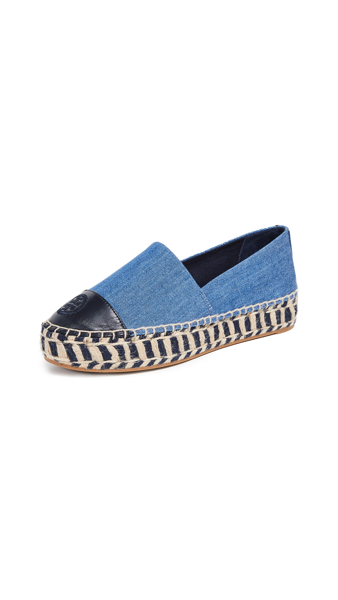 Tory Burch Colorblock Platform Espadrilles - Denim Chambray/Perfect Navy