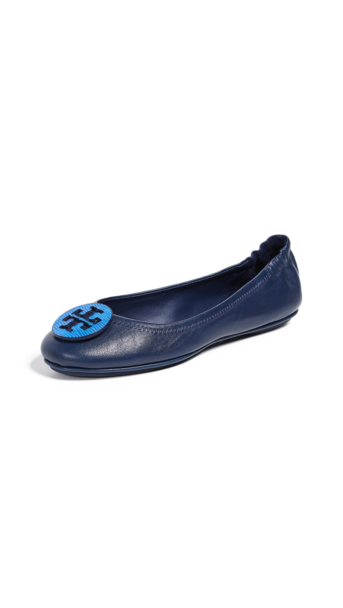 Tory Burch Minnie Travel Ballet Flats - Royal Navy/Bright Blue