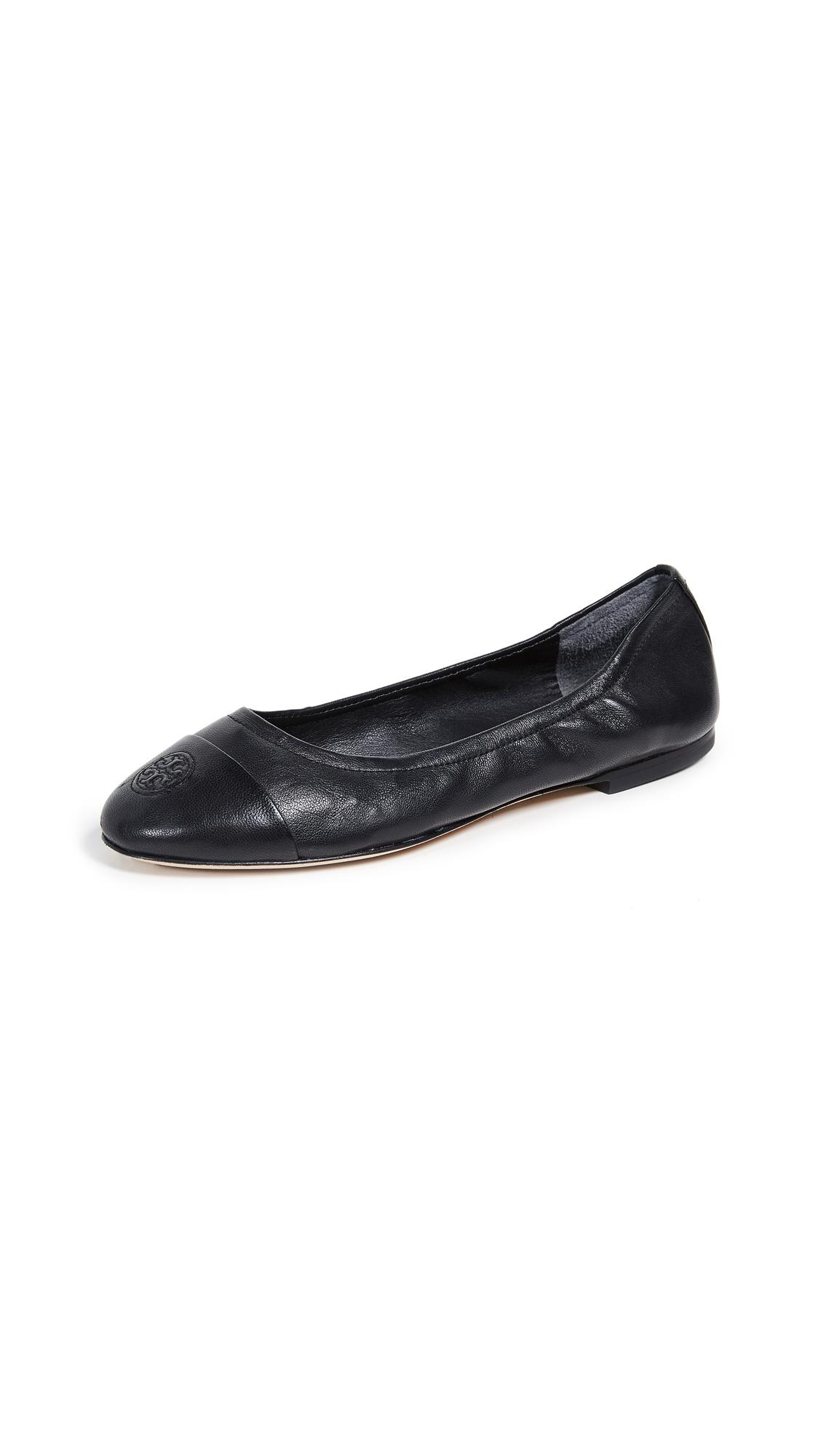Tory Burch Cap Toe Ballet Flats - Black/Black