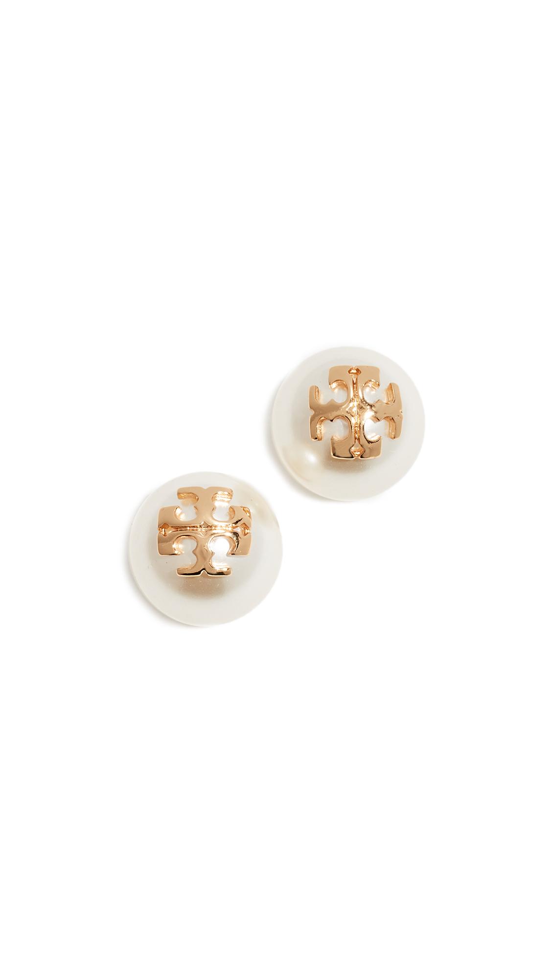 Tory Burch Crystal Pearl Stud Earrings In Ivory/Tory Gold