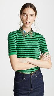 Tory Burch Woven Collar Sweater