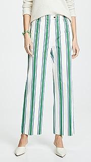 Tory Burch Striped Cotton Pants