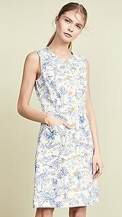 Tory Burch Свободное платье из льна с принтом