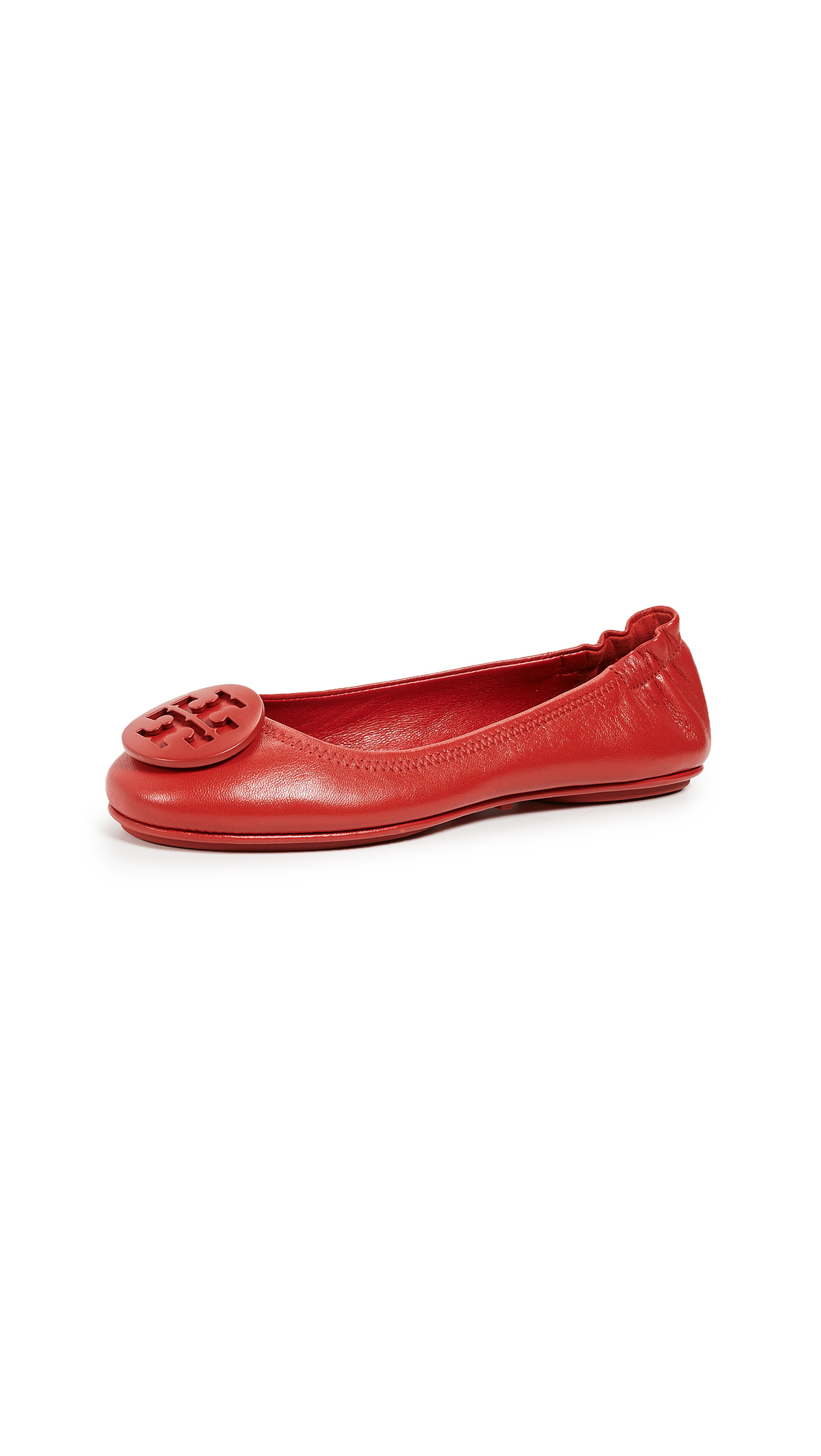 Tory Burch Minnie Travel Ballet Flats - Brilliant Red