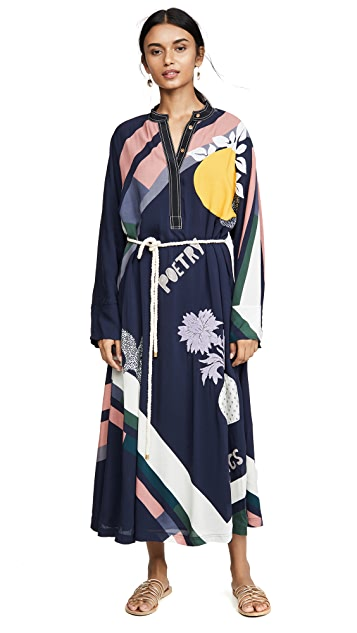 Tory Burch Scarf Print Embroidered Dress