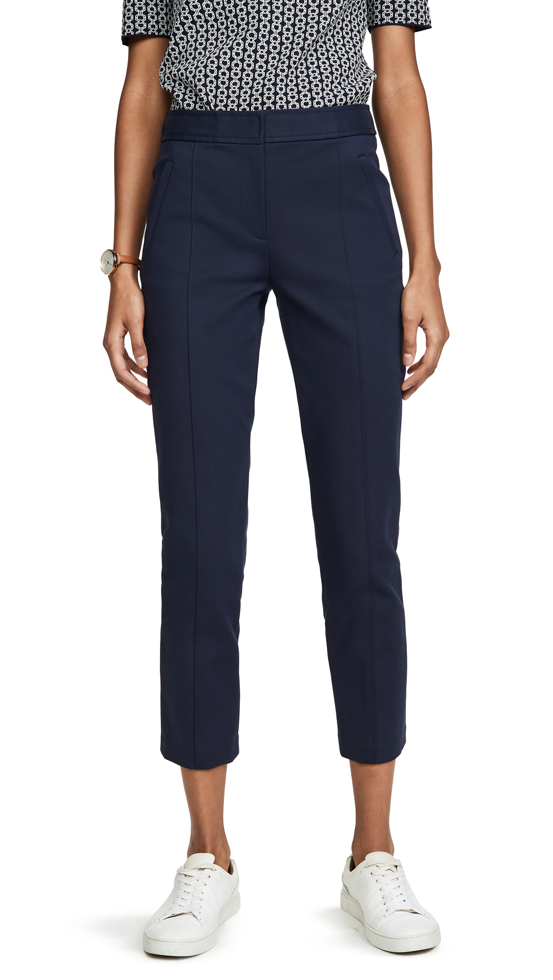 Tory Burch Vanner Cropped Pants In Tory Navy
