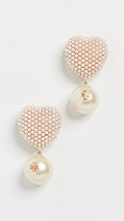 Tory Burch Pearl Heart Charm Earrings