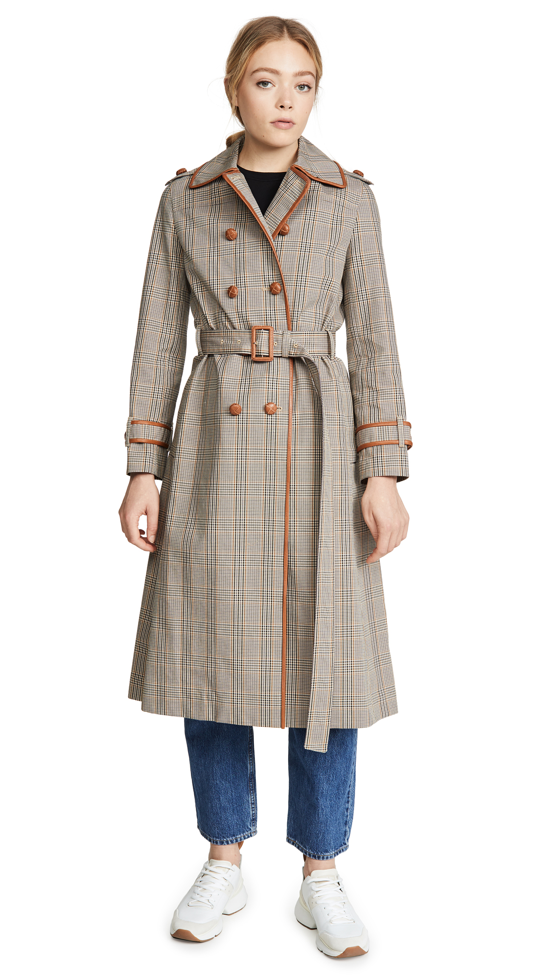 Buy Tory Burch online - photo of Tory Burch Plaid Trench Coat