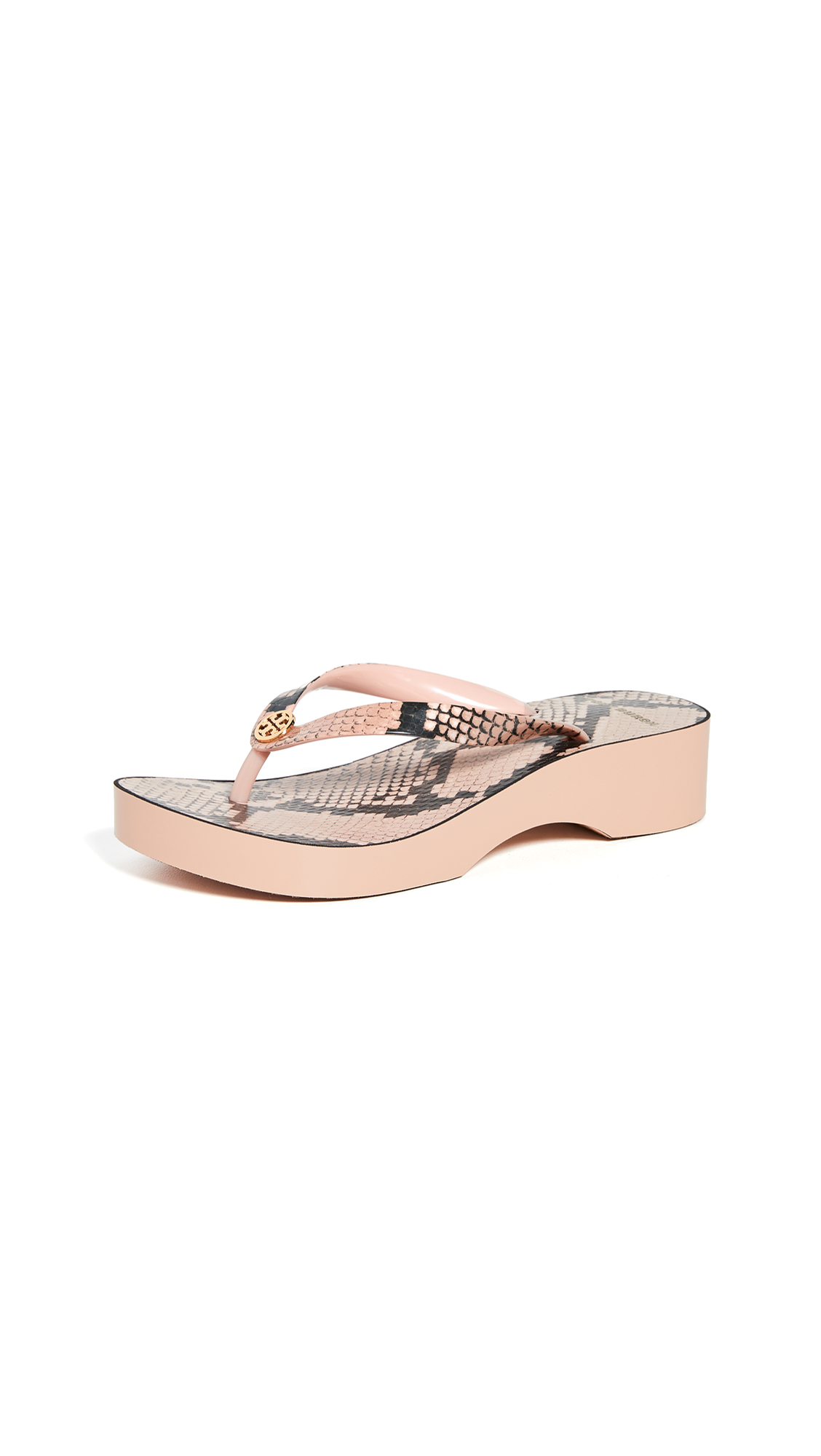 Tory Burch Printed Cutout Wedge Flip Flop In Blush Roccia  Modesens-2688