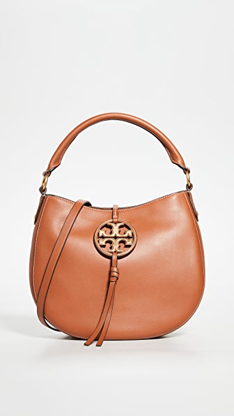 Tory Burch Mini Hobo Leather Hand Bag In Calf Leather In Aged Camello