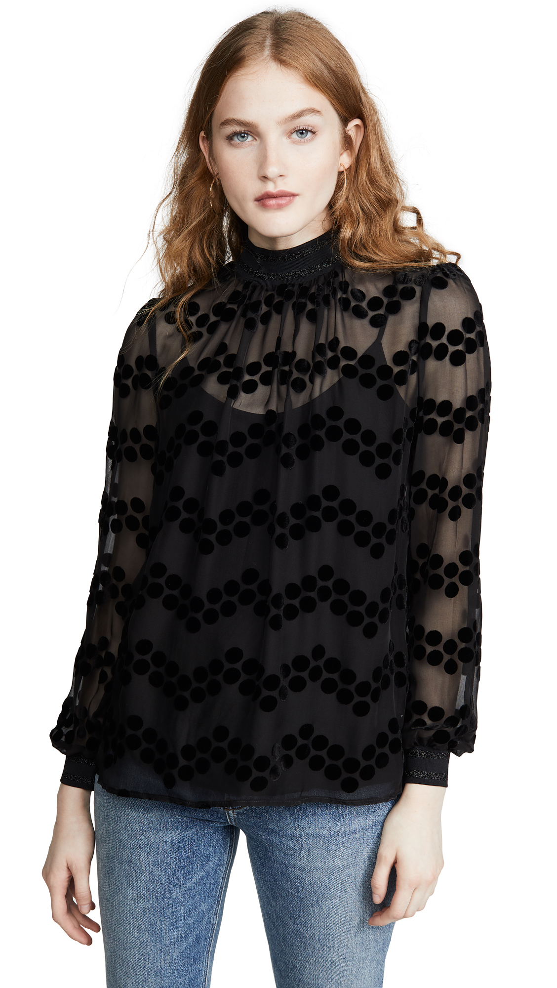 Buy Tory Burch online - photo of Tory Burch Velvet Devore Dot Embroidered Top