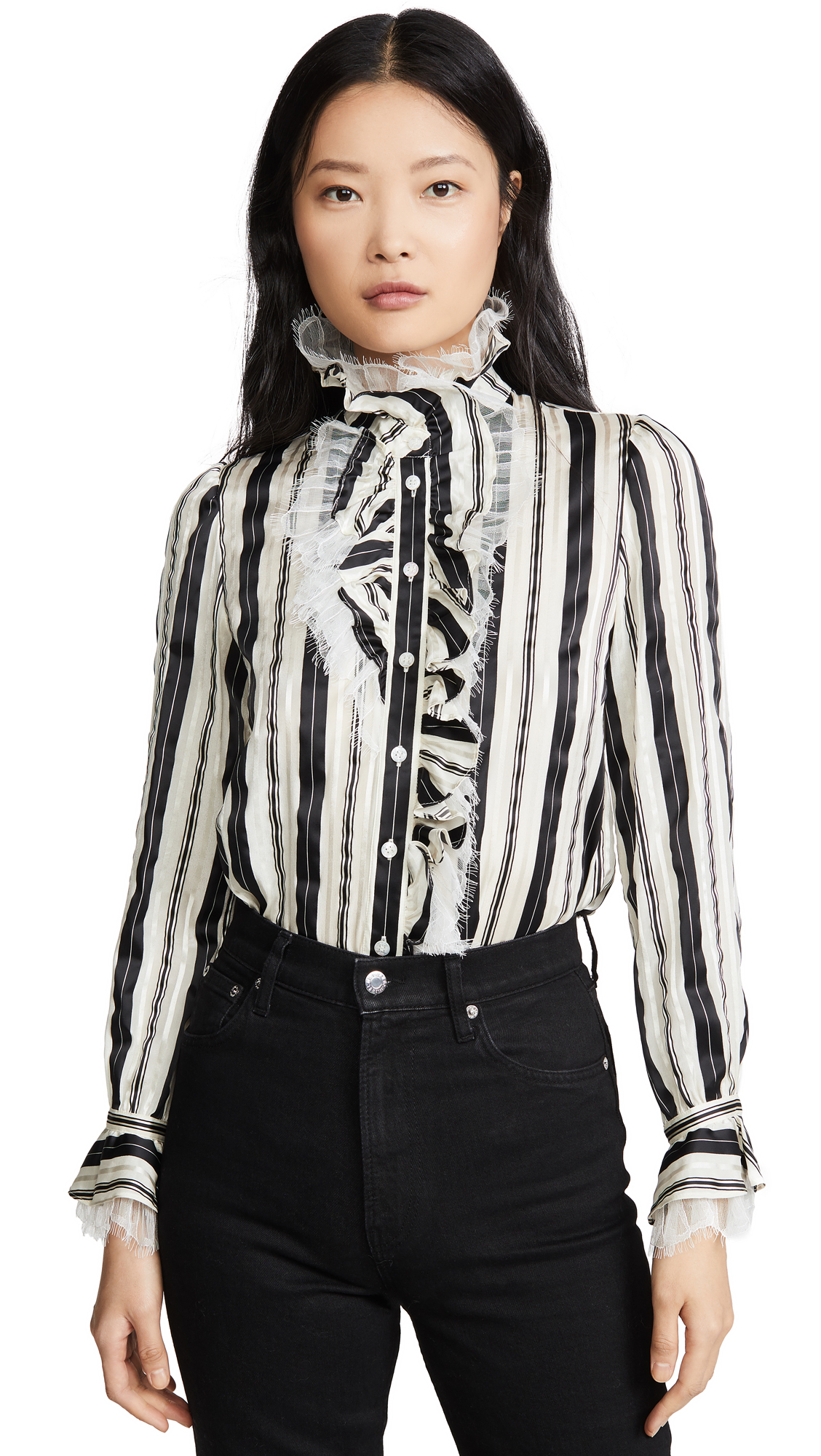 Buy Tory Burch online - photo of Tory Burch Striped Bow Blouse
