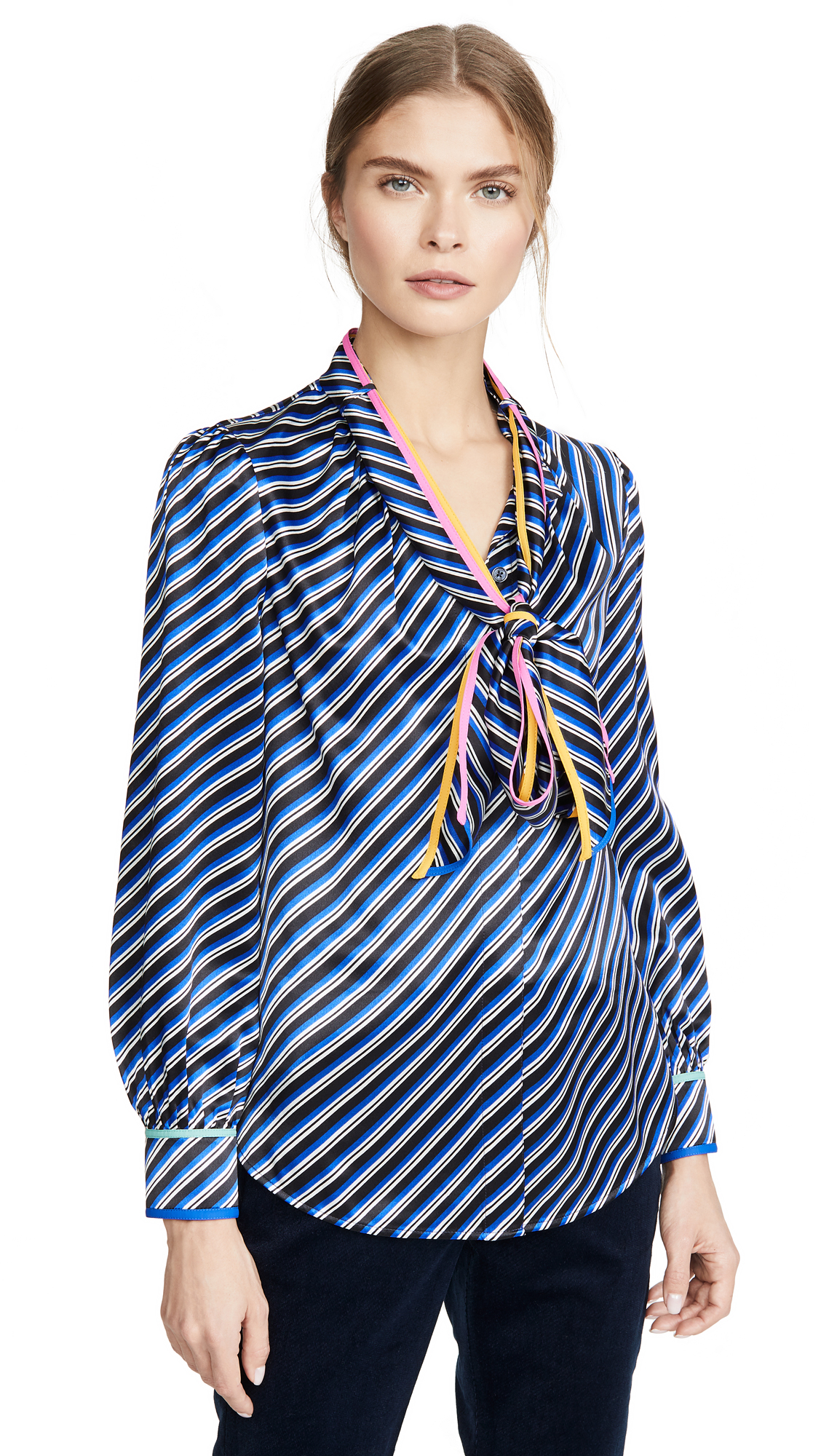 Buy Tory Burch online - photo of Tory Burch Printed Bow Blouse