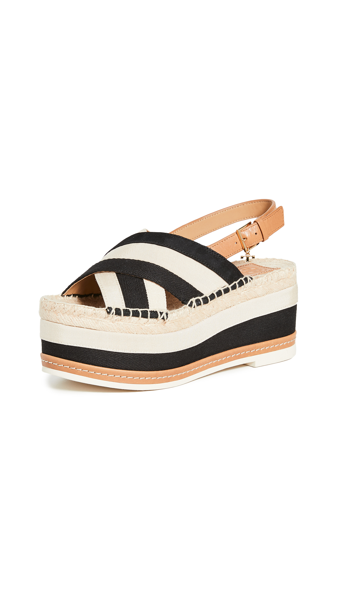 Buy Tory Burch online - photo of Tory Burch Grosgrain Platform Espadrille Sandals