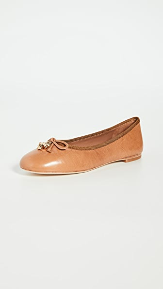 Tory Burch Tory Charm Leather Ballet Flats In Tan