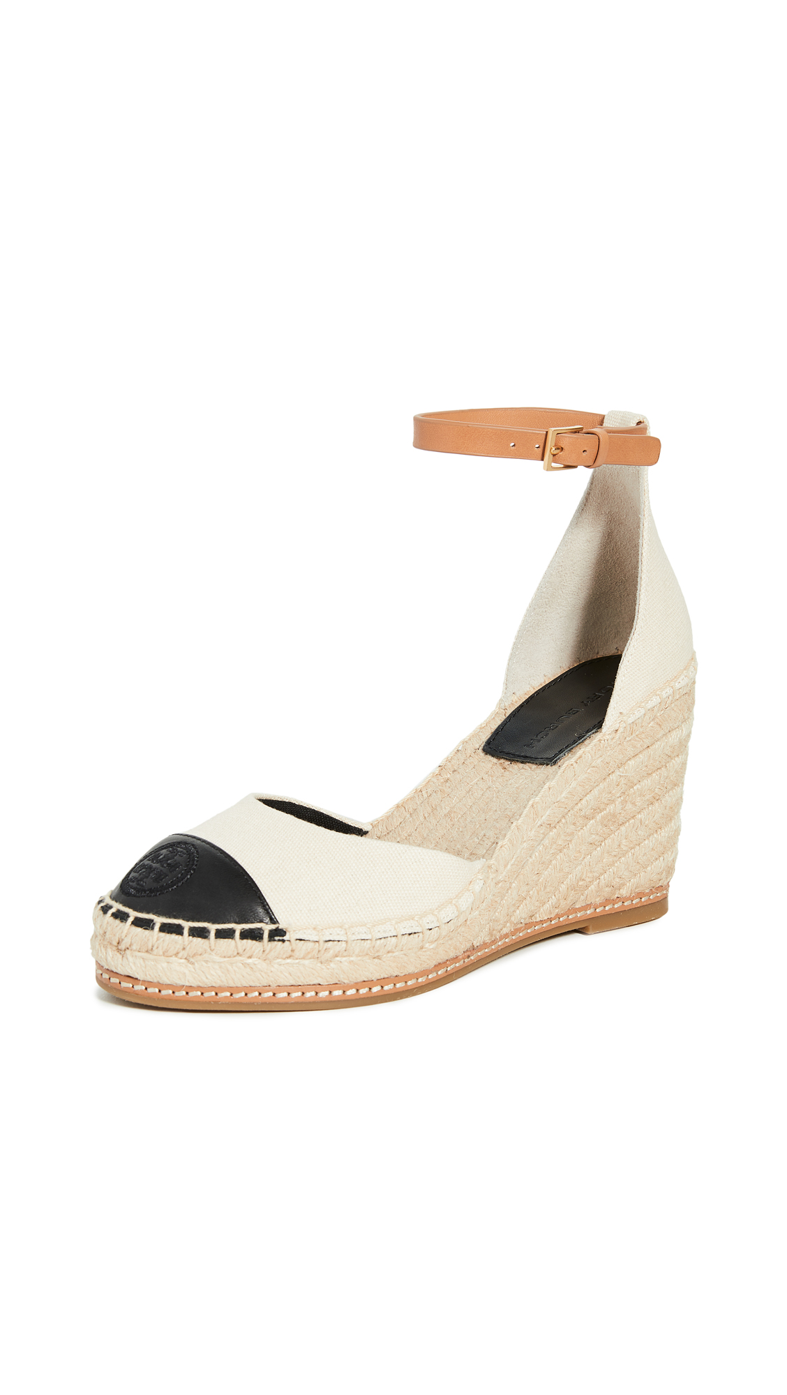 Buy Tory Burch online - photo of Tory Burch 85mm Colorblock Wedge Espadrilles