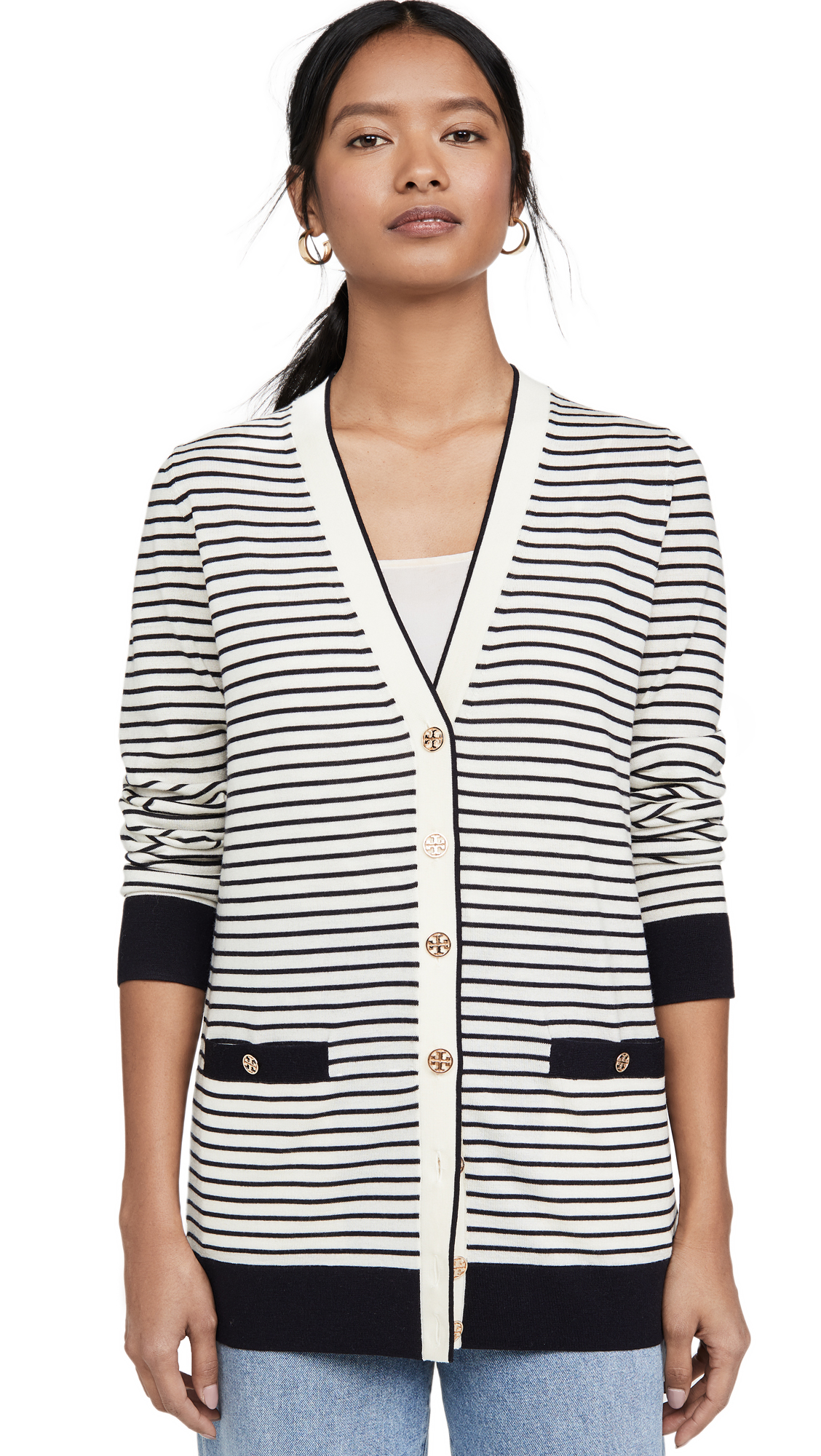 Buy Tory Burch online - photo of Tory Burch Striped Oversized Madeline Cardigan