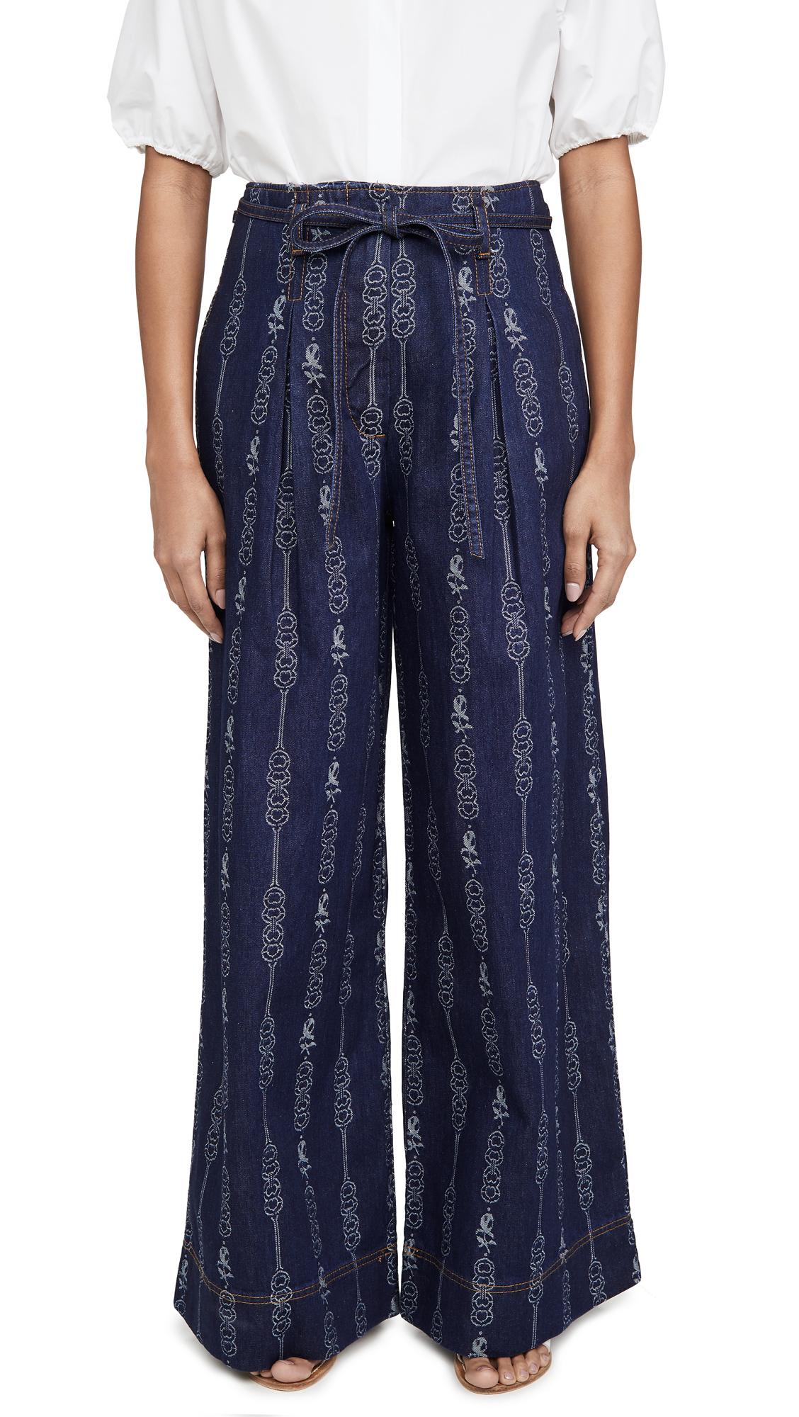Buy Tory Burch online - photo of Tory Burch Gemini Jacquard Denim Trousers